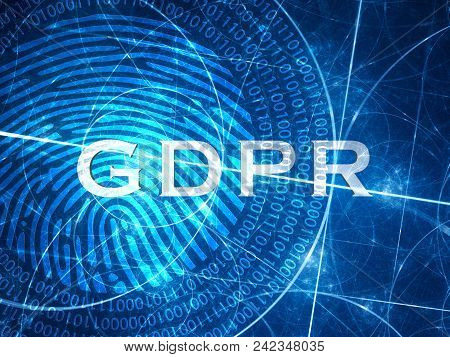 Blue Glowing Gdpr Concept Withh Digital Fingerprint, Computer Generated Abstract Background, 3d Rend
