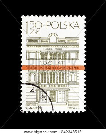 Poland - Circa 1976 : Cancelled Postage Stamp Printed By Poland, That Shows Polish Theater In Poznan