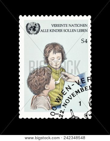 United Nations - Circa 1986 : Cancelled Postage Stamp Printed By United Nations, That Promotes Helpi