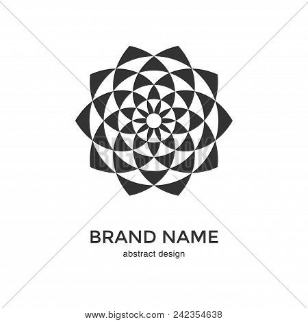 Abstract Geometric Flower Logo. Black And White Circular Fractal Design. Digital Flower Icon. Lotus