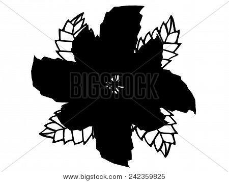 Black 3d Illustration Flower Silhouette Isolated On White Background