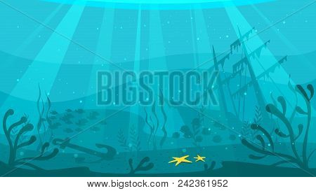 Vector Cartoon Style Underwater Background With Sea Flora And Fauna. Coral Reef, Sea Plants And Fish
