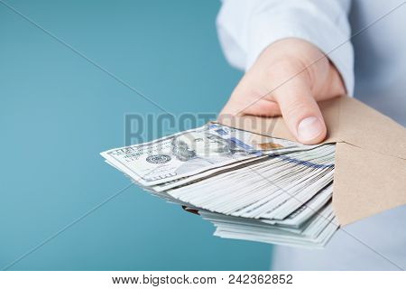 Businessman Giving Of Casch Money. Loan, Finance, Salary, Bribe And Donate Concept.
