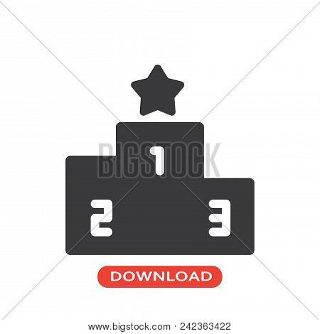 Podium Vector Icon Flat Style Illustration For Web, Mobile, Logo, Application And Graphic Design. Po