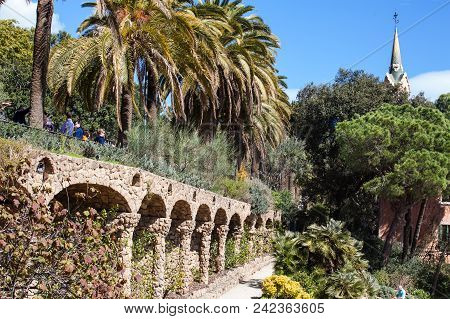 Barcelona - March, 2018: Park Guell In Barcelona, Spain