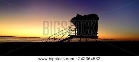 Sandman: Life Guard Stand At Sunset, Huntington Beach, California