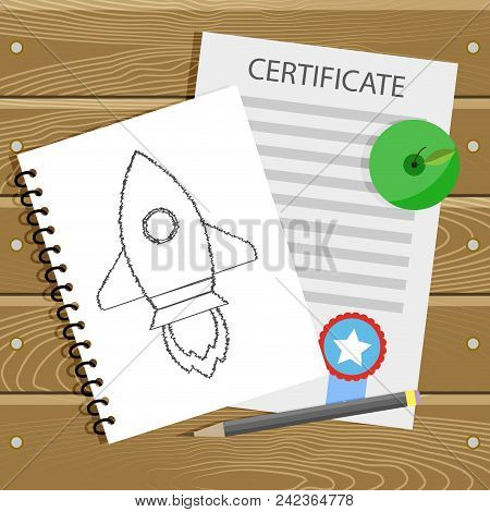 Beginning Learn College, Graduation And Education Start Up, Certificate And Pencil Sketch Rocket Sta