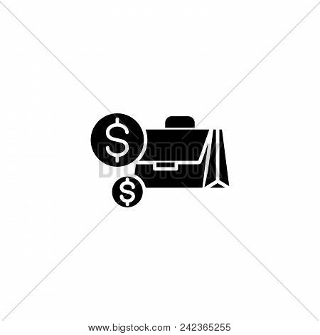 Cash Black Icon Concept. Cash Flat  Vector Website Sign, Symbol, Illustration.