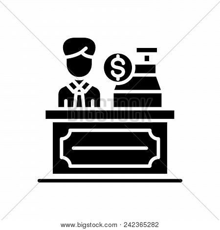 Cash Desk Black Icon Concept. Cash Desk Flat  Vector Website Sign, Symbol, Illustration.