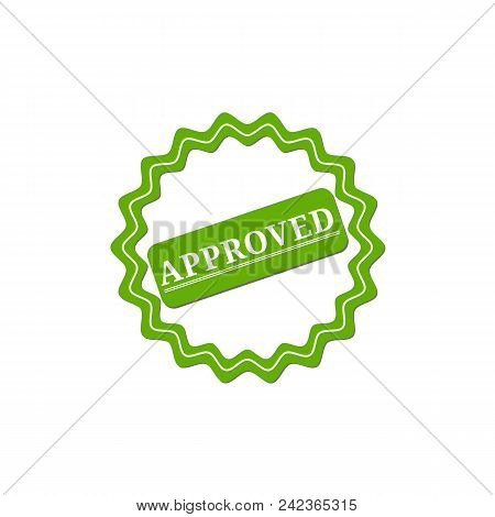 Approved. Stamp. Green Round Grunge Approved Sign Eps10