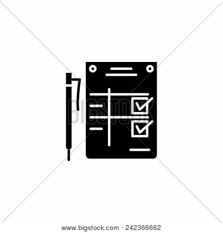 Completion Statement Black Icon Concept. Completion Statement Flat  Vector Website Sign, Symbol, Ill