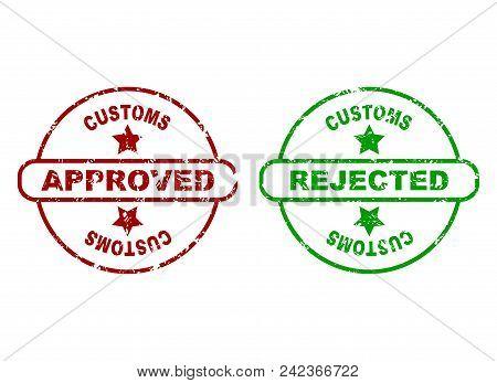 Print For Customs Inspection. Custom Made Control Border, Inspection Special Imprint. Vector Illustr