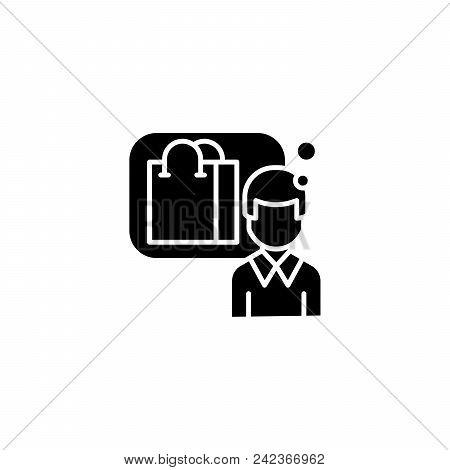 Consumer Black Icon Concept. Consumer Flat  Vector Website Sign, Symbol, Illustration.