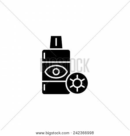 Contact Lens Solution Black Icon Concept. Contact Lens Solution Flat  Vector Website Sign, Symbol, I