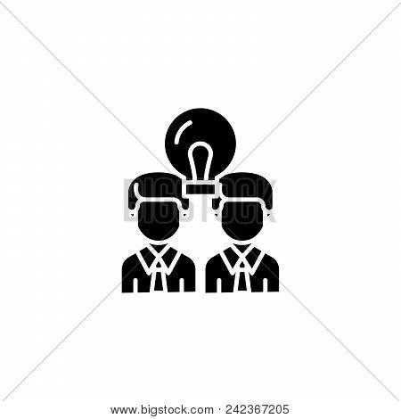 Cooperative Work Black Icon Concept. Cooperative Work Flat  Vector Website Sign, Symbol, Illustratio