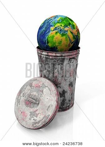 the Earth in the trash