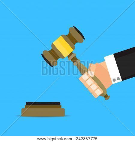 Verdict Judge With Hammer Vector Flat Cartoon. Legal Verdict Judge, Justice Hammer, Gavel Authority,