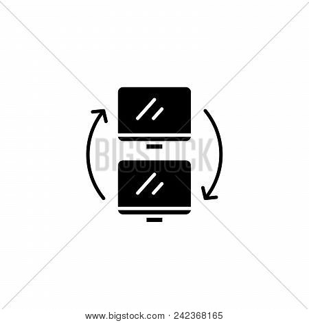 Data Exchange Black Icon Concept. Data Exchange Flat  Vector Website Sign, Symbol, Illustration.