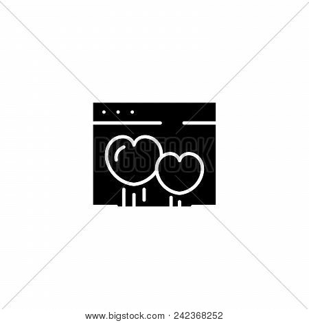 Dating Website Black Icon Concept. Dating Website Flat  Vector Website Sign, Symbol, Illustration.