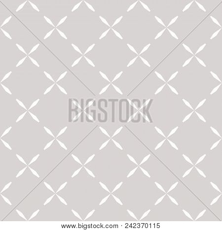 Minimalist Seamless Pattern With Crosses, Simple Floral Shapes. Abstract Geometric Texture In Soft P