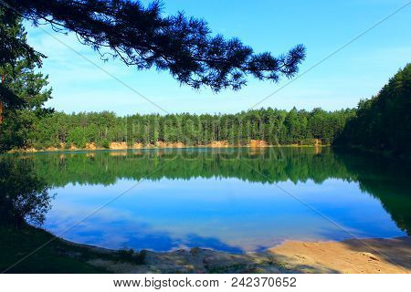 Beautiful Forest Lake With Emerald Water In Pine Forest. Natural View. Water Panorama. Wild Nature.