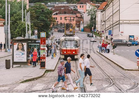 Prague Czech Republic - July 25, 2017: Red Trams On The Ancient Streets Of Prague, The Capital Of Th