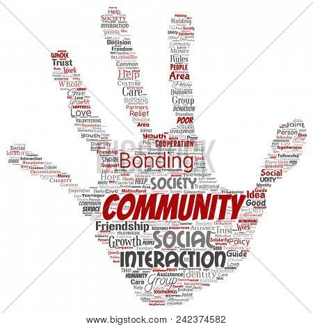 Conceptual community, social, connection hand print stamp word cloud isolated background. Collage of group, teamwork, diversity, friendship, communication, inclusion, care, respect concept