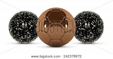 Gold Soccer Ball And Abstract Metal Ball On White Background. Golden Football Ball. Bronze 3d Ball.