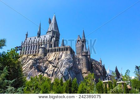 Orlando, Florida, Usa - May 09, 2018: The Hogwarts Castle At The Wizarding World Of Harry Potter In