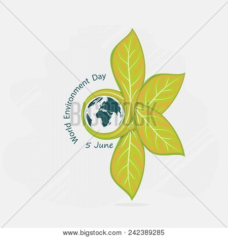 Globe And Leaf Sign. World Environment Day Concept Vector Logo Design Template.june 5st World Enviro