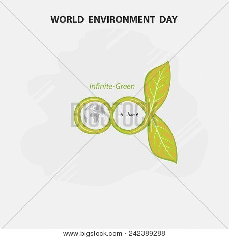 Infinite And Green Concept.globe And Leaf Sign. World Environment Day Concept Vector Logo Design Tem