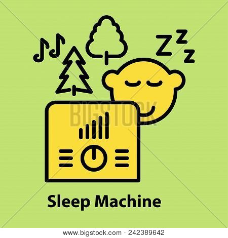 Line Icon Of Sleep Machine On Green Background. Logo Concept In Linear Style. Vector Illustration.