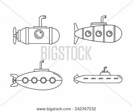 Periscope Submarine Telescope Icons Set. Outline Illustration Of 4 Periscope Submarine Telescope Vec