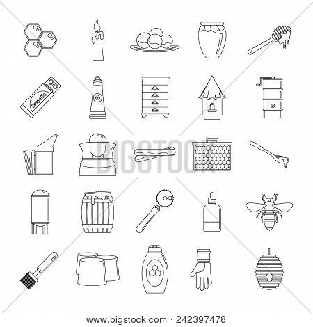 Propolis Honey Royal Jelly Icons Set. Outline Illustration Of 25 Propolis Honey Royal Jelly Vector I