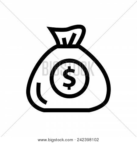 Money Bag Vector Icon On White Background. Money Bag Modern Icon For Graphic And Web Design. Money B