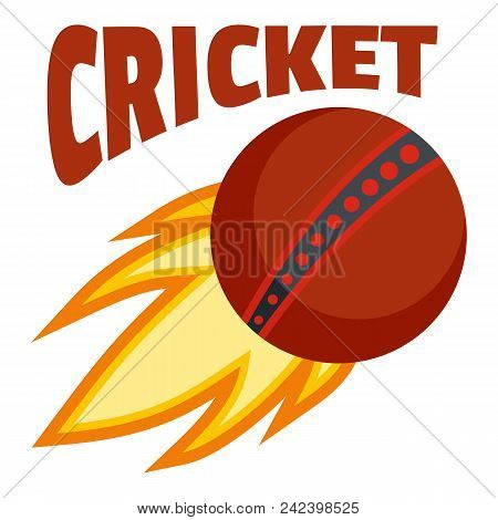 Red Fire Ball Cricket Logo. Flat Illustration Of Red Fire Ball Cricket Vector Logo For Web Design Is