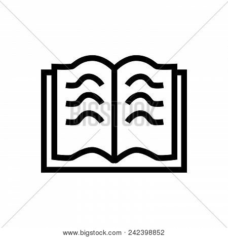 Open Book Outlined Symbol Of Open Textbook. Open Book Icon. Open Book Icon Vector Eps. Open Book Ico