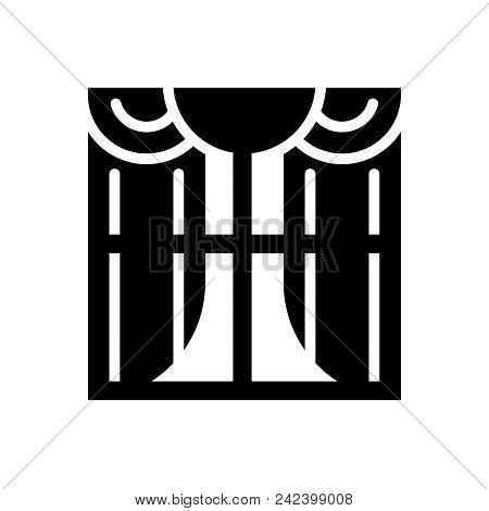Window With Curtain Vector Icon On White Background. Window With Curtain Modern Icon For Graphic And