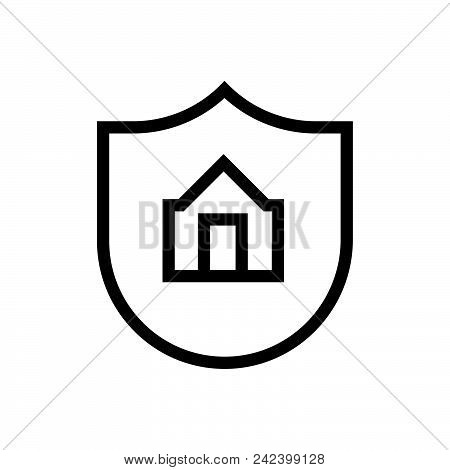 Home Protection Outlined Symbol Of House Security. Home Protection Icon. Home Protection Icon Vector