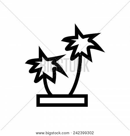 Palm Trees Outlined Symbol Of Exotic Plants.  Palm Tree Icon. Palm Tree Icon Vector Eps. Palm Tree I