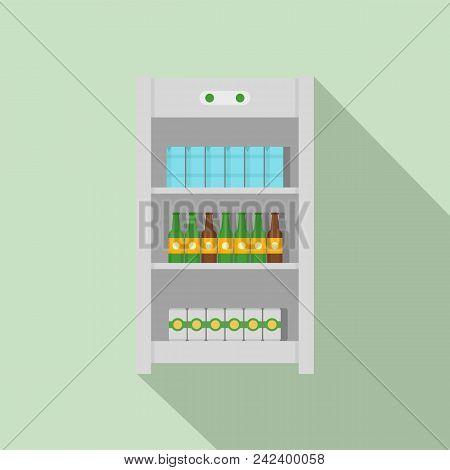 Drinks Refrigerator Icon. Flat Illustration Of Drinks Refrigerator Vector Icon For Web Design