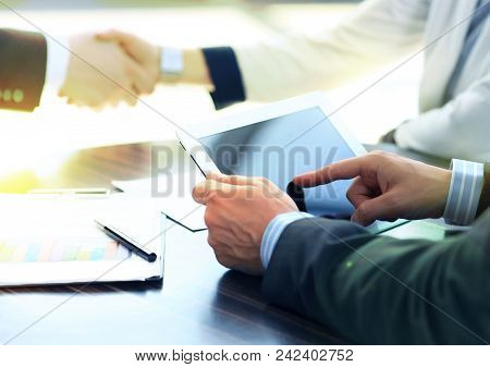 Businessman Hands Touching Digital Tablet Empty Screen Copy Space, Handshake During Meeting