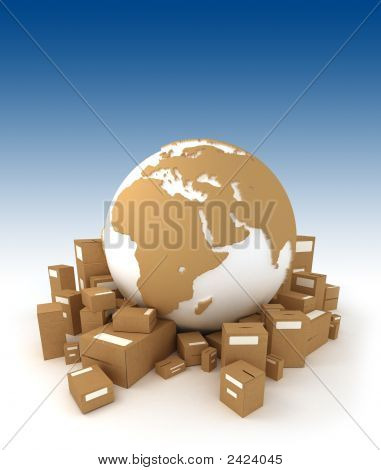 World Globe  With Packages Oriented To Africa