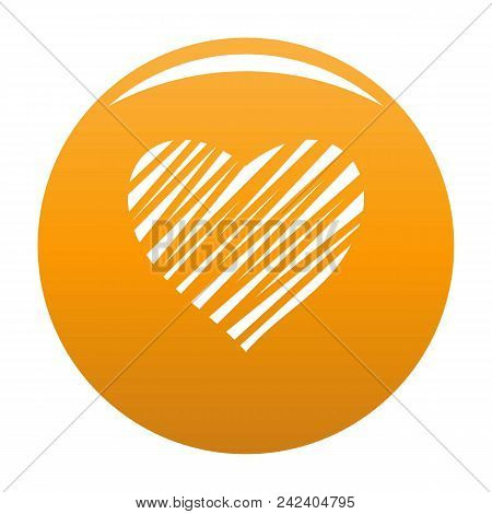 Shaded Heart Icon. Simple Illustration Of Shaded Heart Vector Icon For Any Design Orange