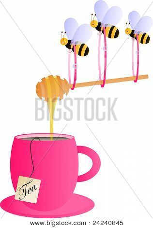 Pink tea cup with bees carying honey