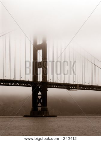 Golden Gate Bridge In Fog Sepia