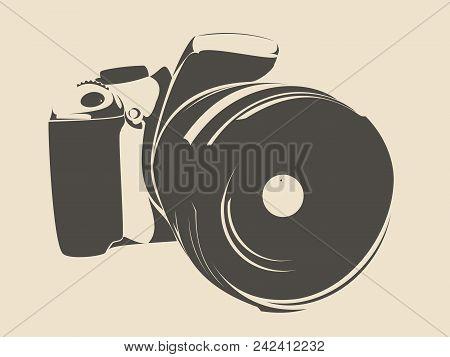 Slr Camera, Logo In Black On A White Background