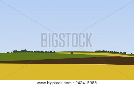 Farm Landscapes With Green, Brown And Yellow Fields With Trees In The Background, Beautiful Rural Na