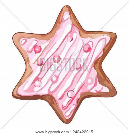 Watercolor Pink Six-pointed Star Ginger Biscuit Isolated Vector
