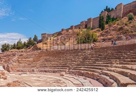 Malaga, Spain - May 26, 2018. The Alcazaba And Roman Theatre In  Historic And Artistic Center Of Mal
